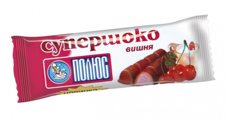 "Wafers moulded glazed""Choco-Shocks"" with cherry flavor"
